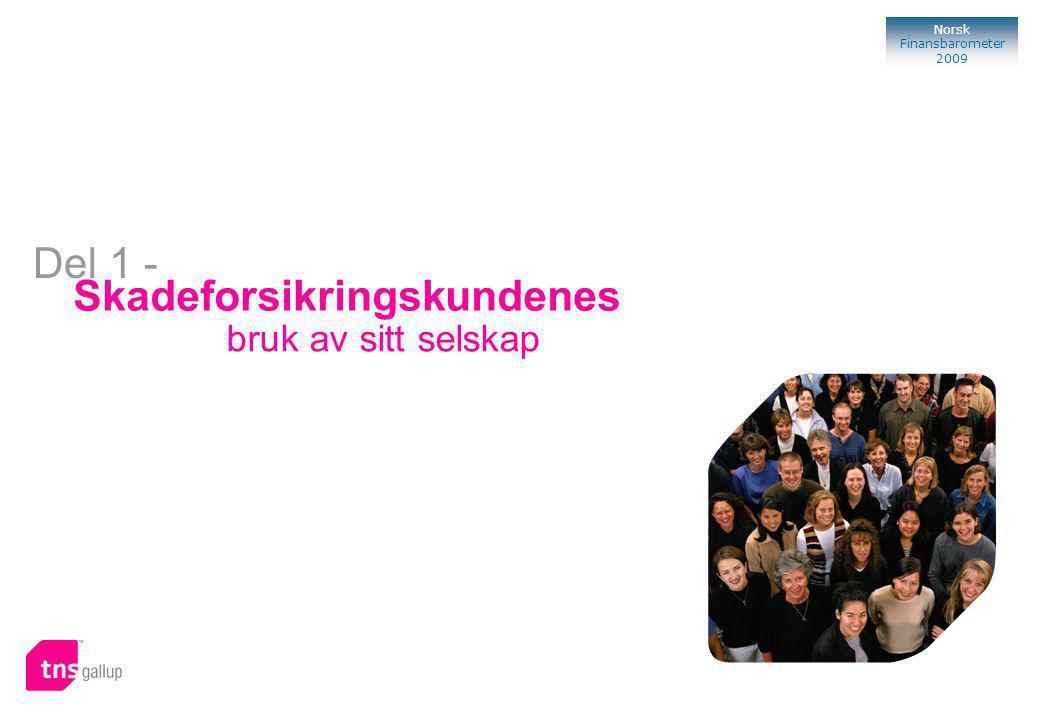 57 Norsk Finansbarometer 2009 Bank Skadeforsikringskundenes bruk av sitt selskap Del 1 -