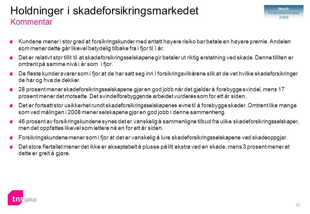 82 Norsk Finansbarometer 2009 Holdninger i skadeforsikringsmarkedet Kommentar Kundene mener i stor grad at forsikringskunder med antatt høyere risiko bør betale en høyere premie.