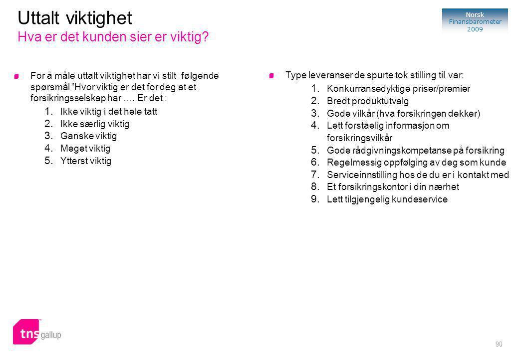 90 Norsk Finansbarometer 2009 For å måle uttalt viktighet har vi stilt følgende spørsmål Hvor viktig er det for deg at et forsikringsselskap har ….