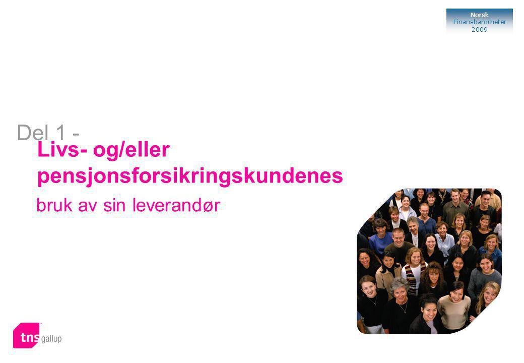 95 Norsk Finansbarometer 2009 Bank Livs- og/eller pensjonsforsikringskundenes bruk av sin leverandør Del 1 -