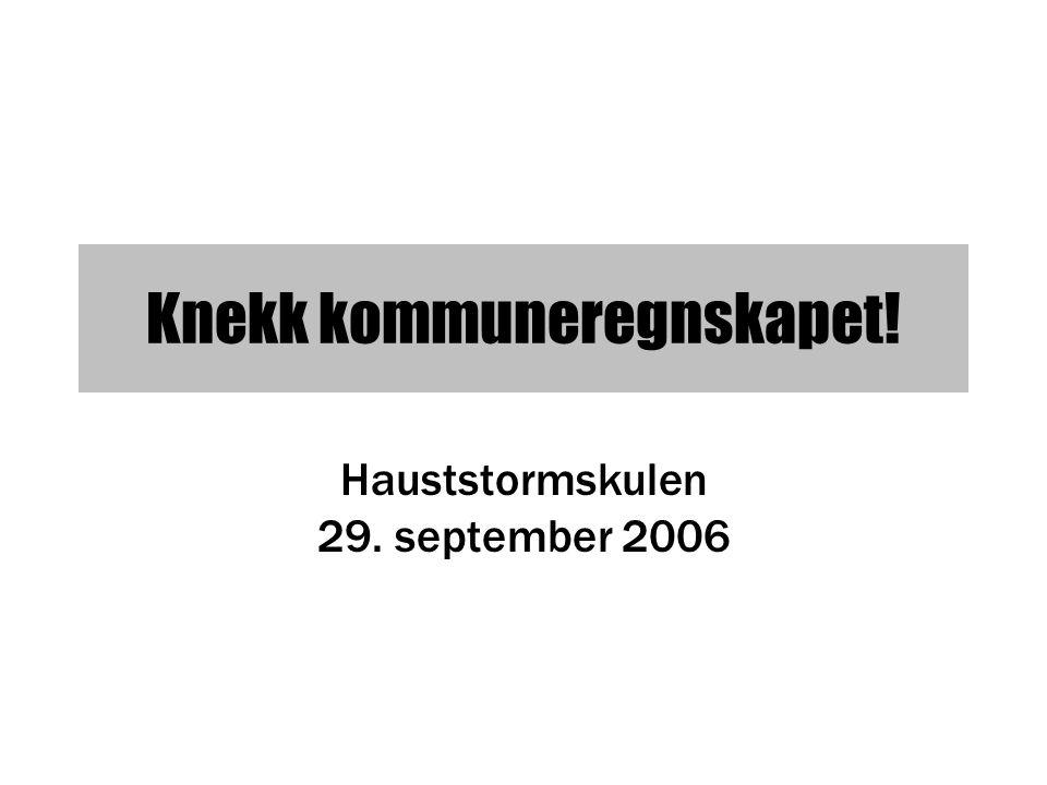 Knekk kommuneregnskapet! Hauststormskulen 29. september 2006