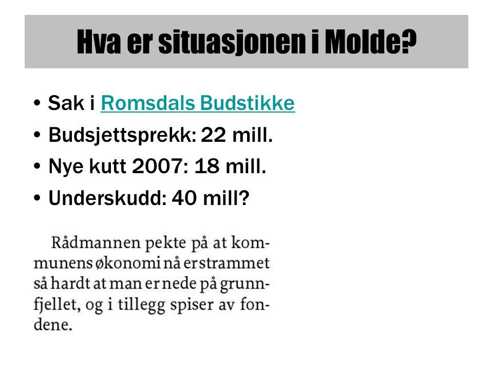 Hva er situasjonen i Molde.•Sak i Romsdals BudstikkeRomsdals Budstikke •Budsjettsprekk: 22 mill.