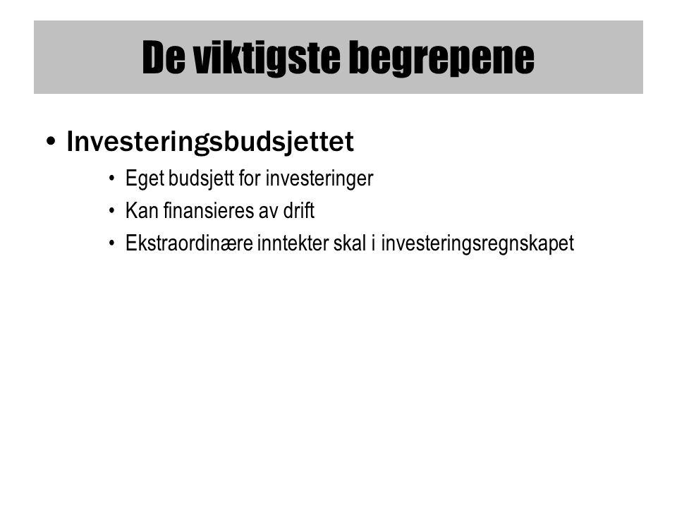 De viktigste begrepene •Investeringsbudsjettet •Eget budsjett for investeringer •Kan finansieres av drift •Ekstraordinære inntekter skal i investeringsregnskapet