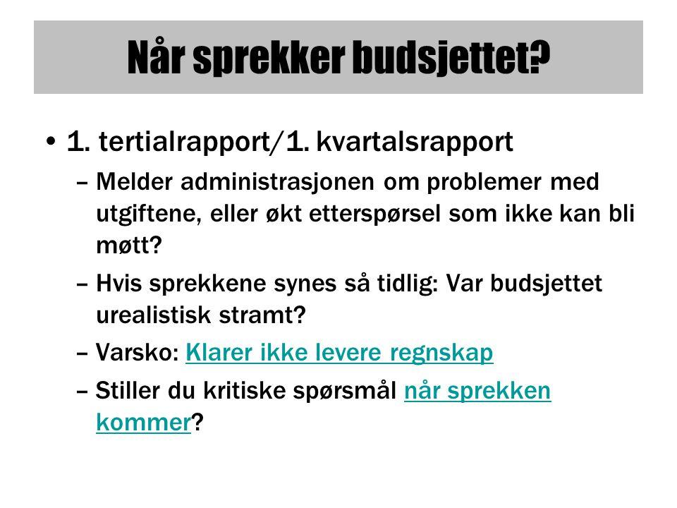 Når sprekker budsjettet.•1. tertialrapport/1.