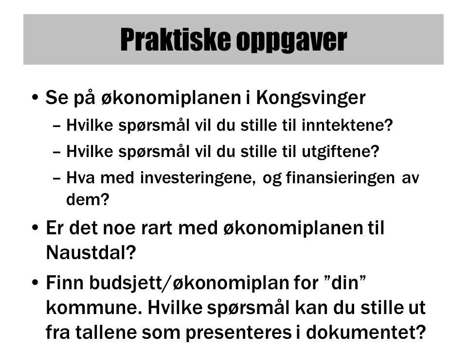 Praktiske oppgaver •Se på økonomiplanen i Kongsvinger –Hvilke spørsmål vil du stille til inntektene.