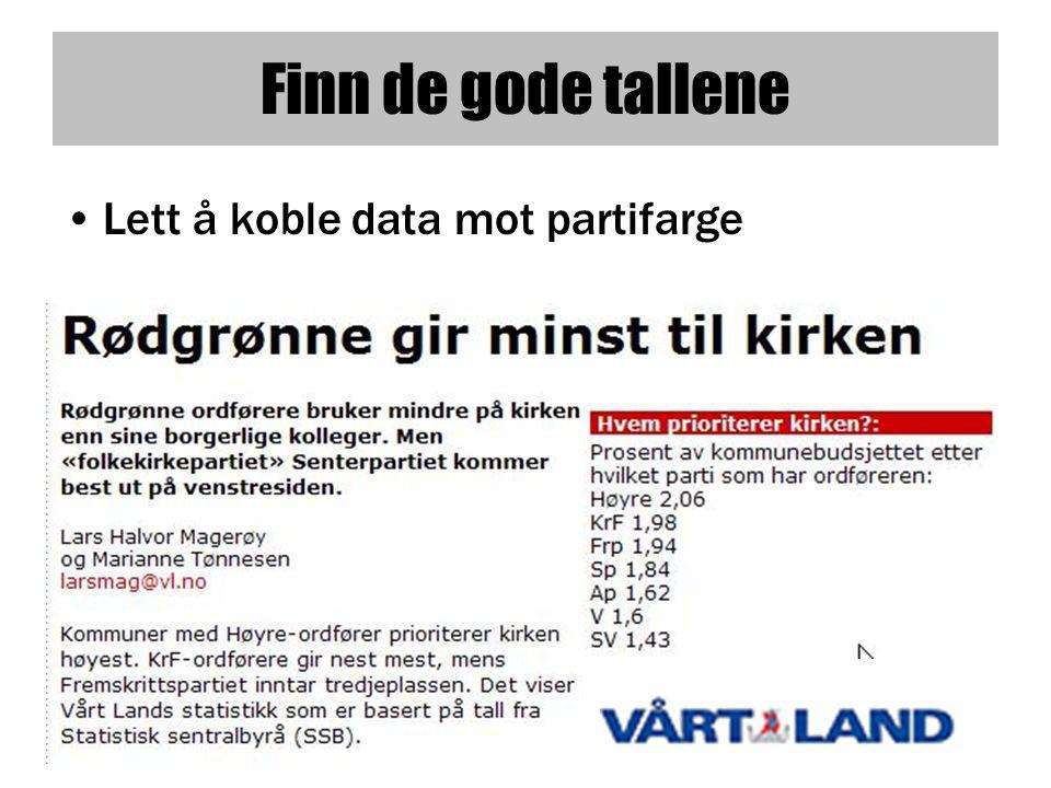 Finn de gode tallene •Lett å koble data mot partifarge