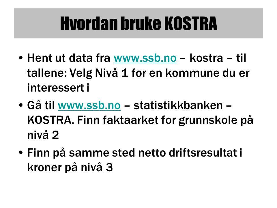 Hvordan bruke KOSTRA •Hent ut data fra www.ssb.no – kostra – til tallene: Velg Nivå 1 for en kommune du er interessert iwww.ssb.no •Gå til www.ssb.no – statistikkbanken – KOSTRA.