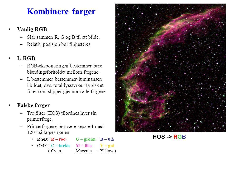 Kombinere farger •Vanlig RGB –Slår sammen R, G og B til ett bilde.