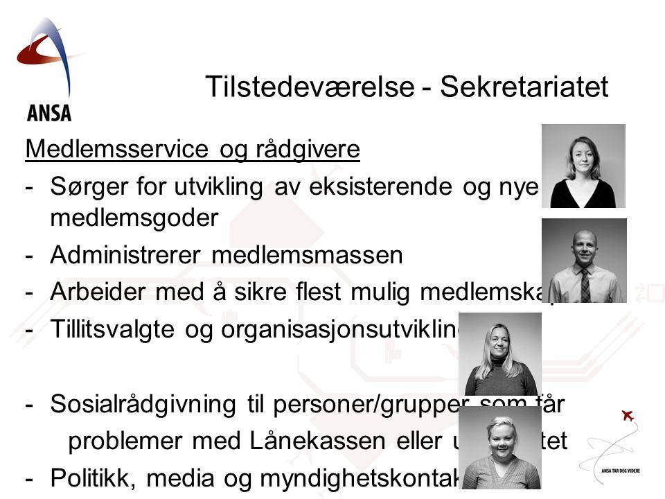 Tilstedeværelse - Sekretariatet Medlemsservice og rådgivere -Sørger for utvikling av eksisterende og nye medlemsgoder -Administrerer medlemsmassen -Ar