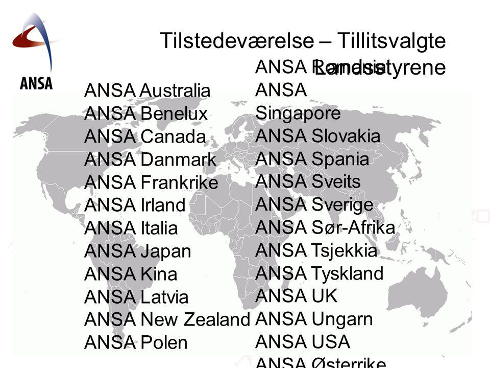 Tilstedeværelse – Tillitsvalgte Landsstyrene ANSA Australia ANSA Benelux ANSA Canada ANSA Danmark ANSA Frankrike ANSA Irland ANSA Italia ANSA Japan AN