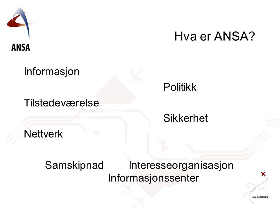 Hva er ANSA? Informasjon Politikk Tilstedeværelse Sikkerhet Nettverk SamskipnadInteresseorganisasjon Informasjonssenter
