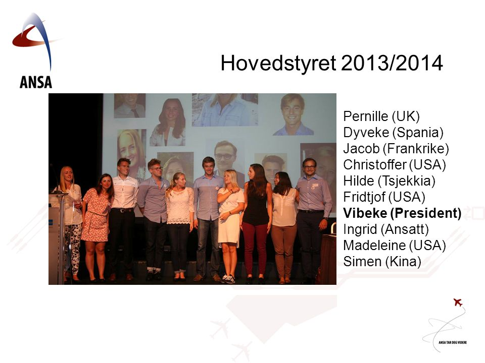 Hovedstyret 2013/2014 Pernille (UK) Dyveke (Spania) Jacob (Frankrike) Christoffer (USA) Hilde (Tsjekkia) Fridtjof (USA) Vibeke (President) Ingrid (Ans