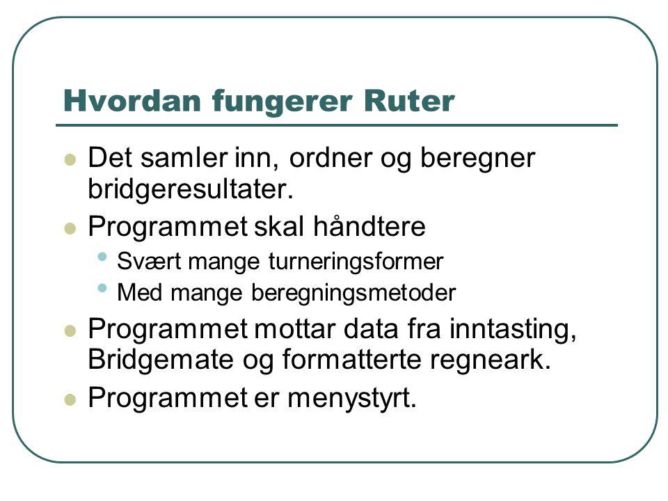 Hvordan fungerer Ruter  Det samler inn, ordner og beregner bridgeresultater.