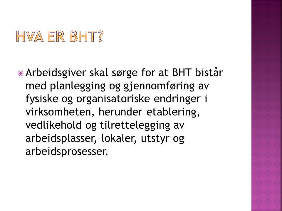 Arbeidsgiver skal sørge for at BHT bistår med planlegging og gjennomføring av fysiske og organisatoriske endringer i virksomheten, herunder etablering, vedlikehold og tilrettelegging av arbeidsplasser, lokaler, utstyr og arbeidsprosesser.