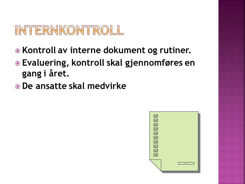  Kontroll av interne dokument og rutiner.  Evaluering, kontroll skal gjennomføres en gang i året.  De ansatte skal medvirke