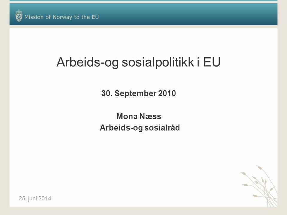 25. juni 2014 Arbeids-og sosialpolitikk i EU 30. September 2010 Mona Næss Arbeids-og sosialråd