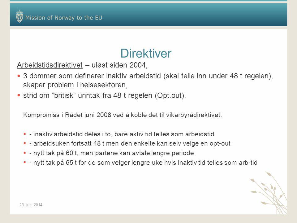 25. juni 2014 Direktiver Arbeidstidsdirektivet – uløst siden 2004,  3 dommer som definerer inaktiv arbeidstid (skal telle inn under 48 t regelen), sk