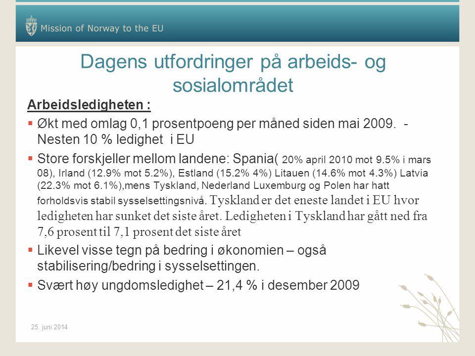 25. juni 2014 Dagens utfordringer på arbeids- og sosialområdet Arbeidsledigheten :  Økt med omlag 0,1 prosentpoeng per måned siden mai 2009. - Nesten