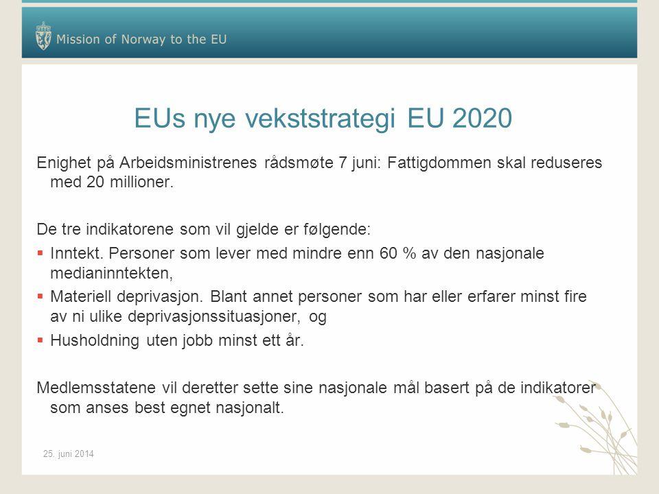 25. juni 2014 EUs nye vekststrategi EU 2020 Enighet på Arbeidsministrenes rådsmøte 7 juni: Fattigdommen skal reduseres med 20 millioner. De tre indika