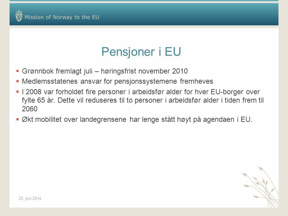 25. juni 2014 Pensjoner i EU  Grønnbok fremlagt juli – høringsfrist november 2010  Medlemsstatenes ansvar for pensjonssystemene fremheves  I 2008 v