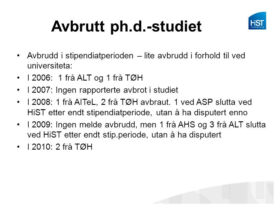 Avbrutt ph.d.-studiet •Avbrudd i stipendiatperioden – lite avbrudd i forhold til ved universiteta: •I 2006: 1 frå ALT og 1 frå TØH •I 2007: Ingen rapp