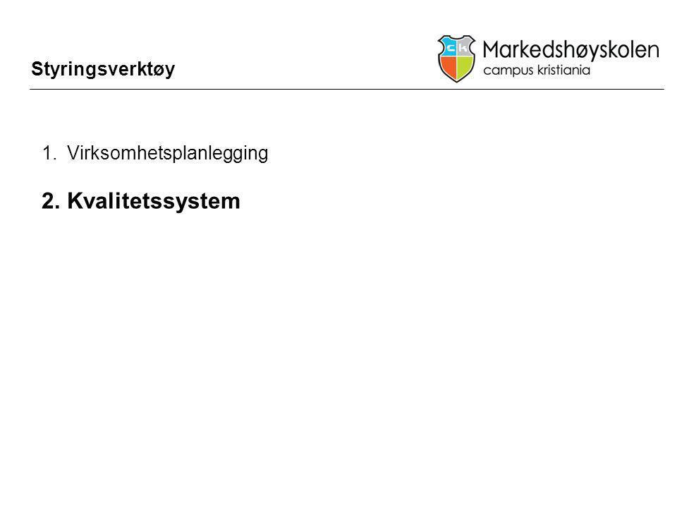1.Virksomhetsplanlegging 2.Kvalitetssystem Styringsverktøy