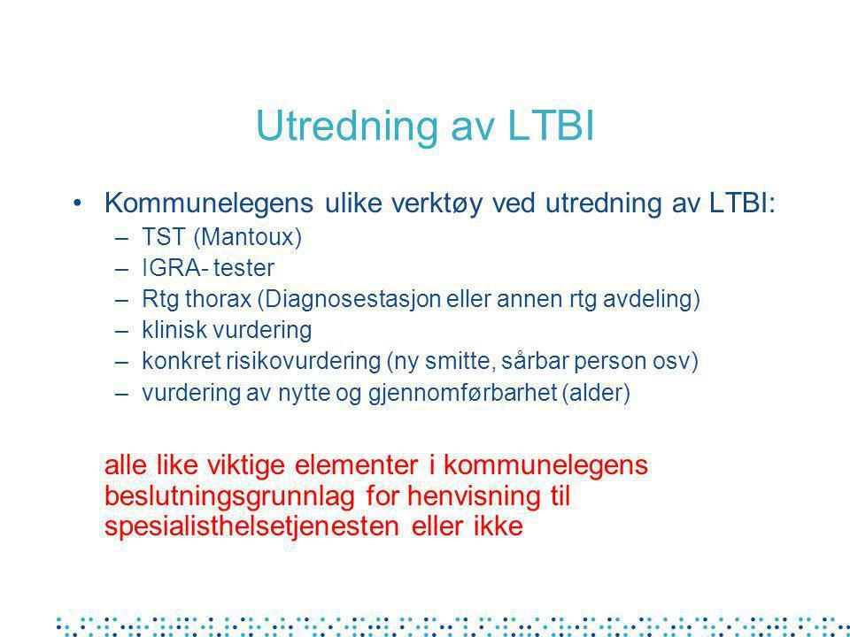 Utredning av LTBI •Kommunelegens ulike verktøy ved utredning av LTBI: –TST (Mantoux) –IGRA- tester –Rtg thorax (Diagnosestasjon eller annen rtg avdeling) –klinisk vurdering –konkret risikovurdering (ny smitte, sårbar person osv) –vurdering av nytte og gjennomførbarhet (alder) alle like viktige elementer i kommunelegens beslutningsgrunnlag for henvisning til spesialisthelsetjenesten eller ikke