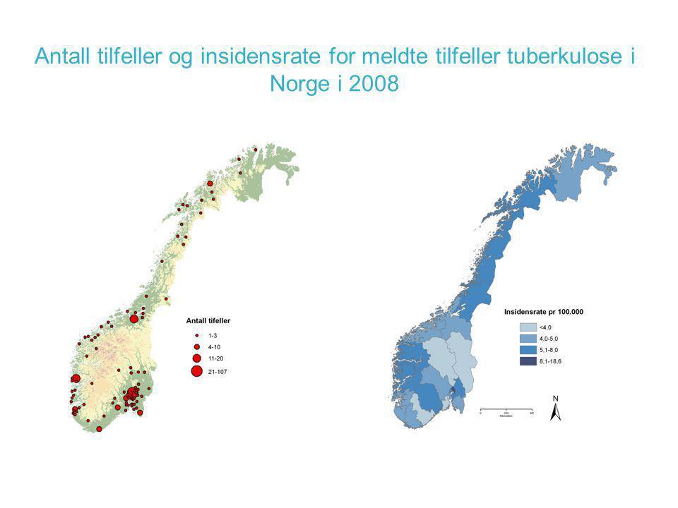 Antall tilfeller og insidensrate for meldte tilfeller tuberkulose i Norge i 2008