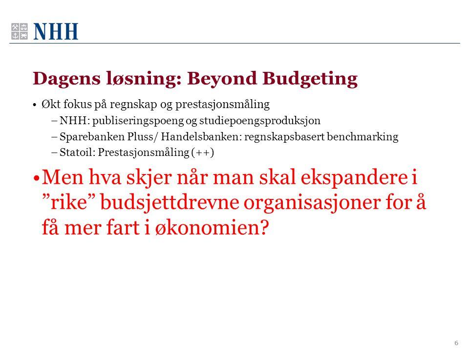 Dagens løsning: Beyond Budgeting •Økt fokus på regnskap og prestasjonsmåling –NHH: publiseringspoeng og studiepoengsproduksjon –Sparebanken Pluss/ Han