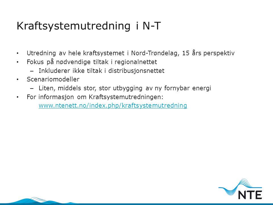 Kraftsystemutredning i N-T • Utredning av hele kraftsystemet i Nord-Trøndelag, 15 års perspektiv • Fokus på nødvendige tiltak i regionalnettet – Inklu