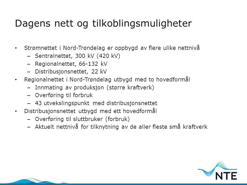 Dagens nett og tilkoblingsmuligheter • Strømnettet i Nord-Trøndelag er oppbygd av flere ulike nettnivå – Sentralnettet, 300 kV (420 kV) – Regionalnett