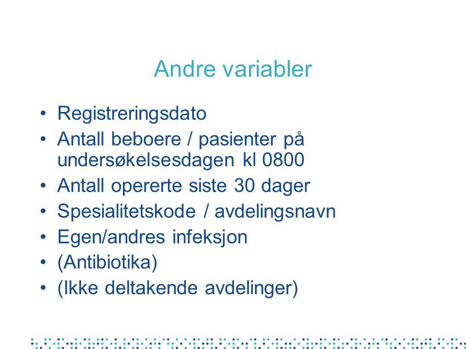 Andre variabler •Registreringsdato •Antall beboere / pasienter på undersøkelsesdagen kl 0800 •Antall opererte siste 30 dager •Spesialitetskode / avdelingsnavn •Egen/andres infeksjon •(Antibiotika) •(Ikke deltakende avdelinger)
