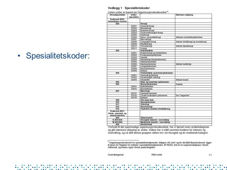 •Spesialitetskoder: