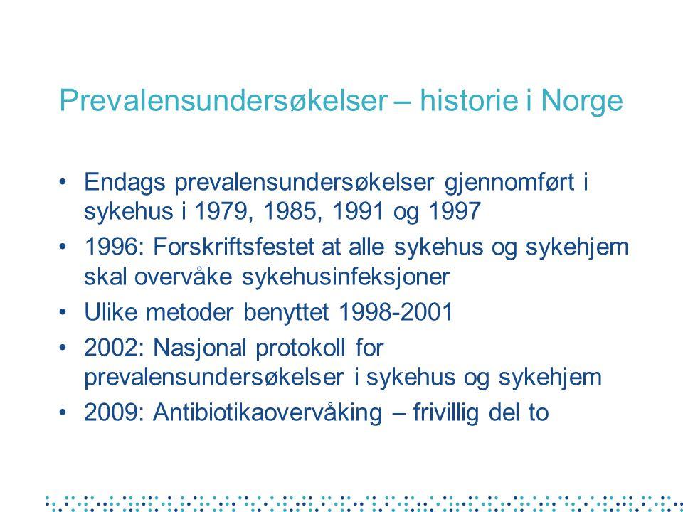 Prevalensundersøkelser – historie i Norge •Endags prevalensundersøkelser gjennomført i sykehus i 1979, 1985, 1991 og 1997 •1996: Forskriftsfestet at alle sykehus og sykehjem skal overvåke sykehusinfeksjoner •Ulike metoder benyttet 1998-2001 •2002: Nasjonal protokoll for prevalensundersøkelser i sykehus og sykehjem •2009: Antibiotikaovervåking – frivillig del to