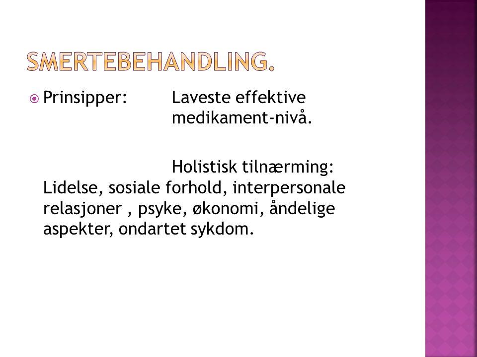  Prinsipper: Laveste effektive medikament-nivå.