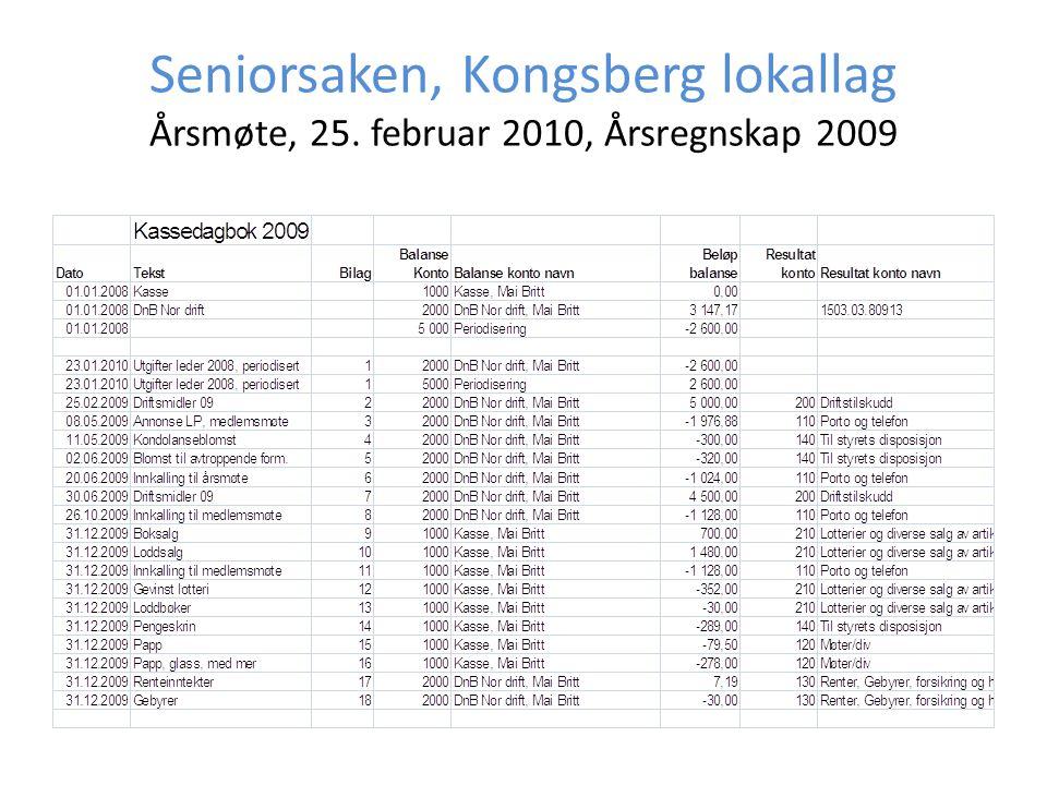 Seniorsaken, Kongsberg lokallag Årsmøte, 25. februar 2010, Årsregnskap 2009