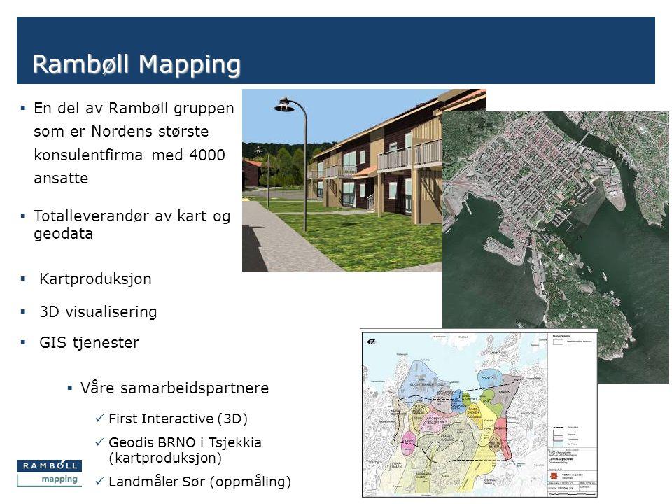 Side Rambøll Mapping  Kartproduksjon  3D visualisering  GIS tjenester  Våre samarbeidspartnere  First Interactive (3D)  Geodis BRNO i Tsjekkia (