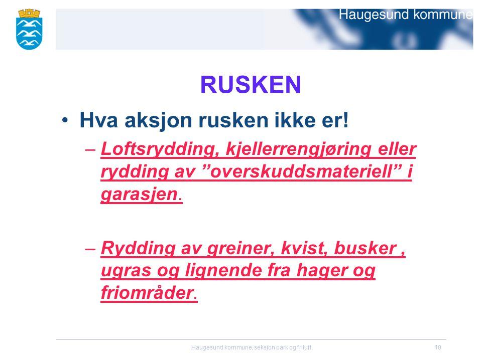 Haugesund kommune, seksjon park og friluft10 RUSKEN •Hva aksjon rusken ikke er.