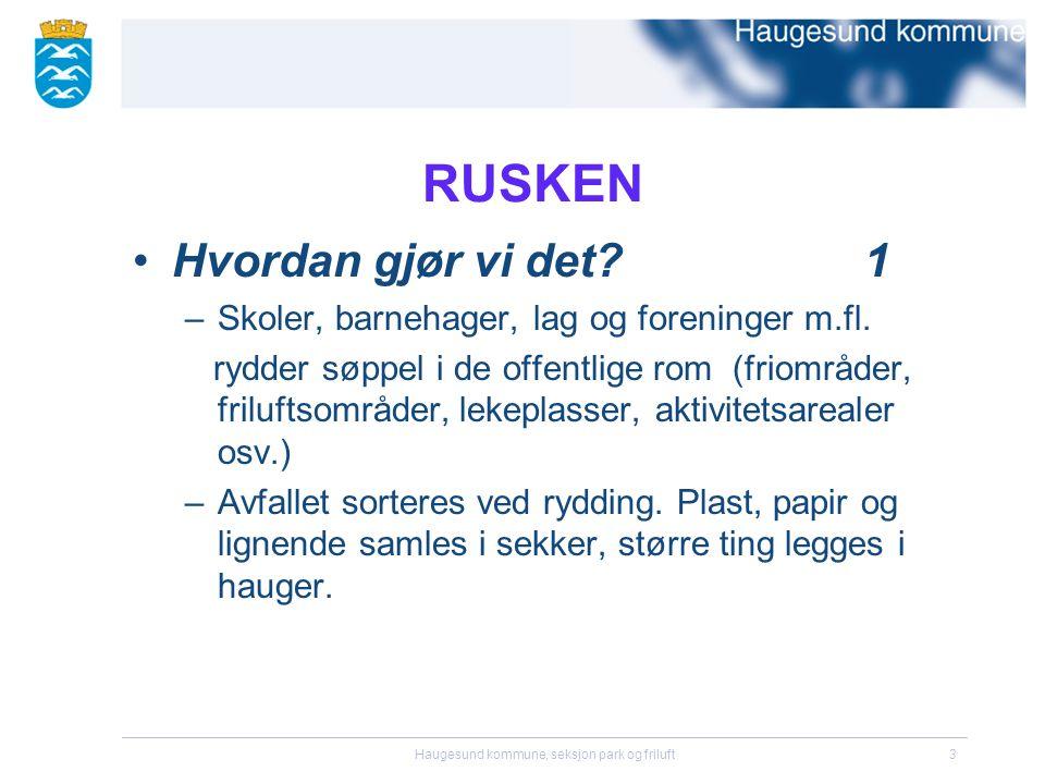 Haugesund kommune, seksjon park og friluft3 RUSKEN •Hvordan gjør vi det?1 –Skoler, barnehager, lag og foreninger m.fl.