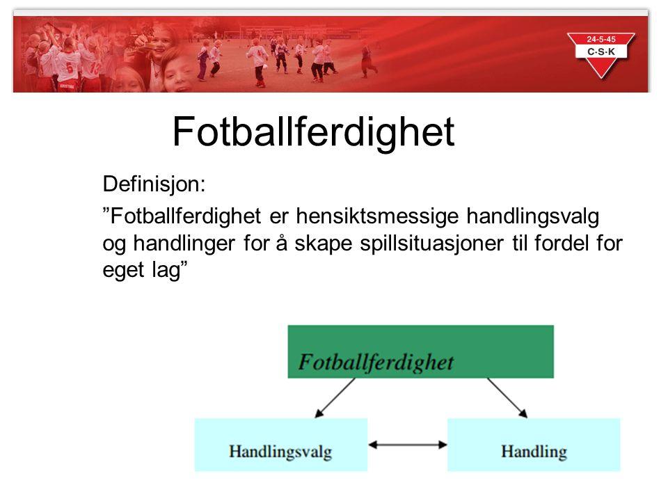"""Fotballferdighet Definisjon: """"Fotballferdighet er hensiktsmessige handlingsvalg og handlinger for å skape spillsituasjoner til fordel for eget lag"""""""
