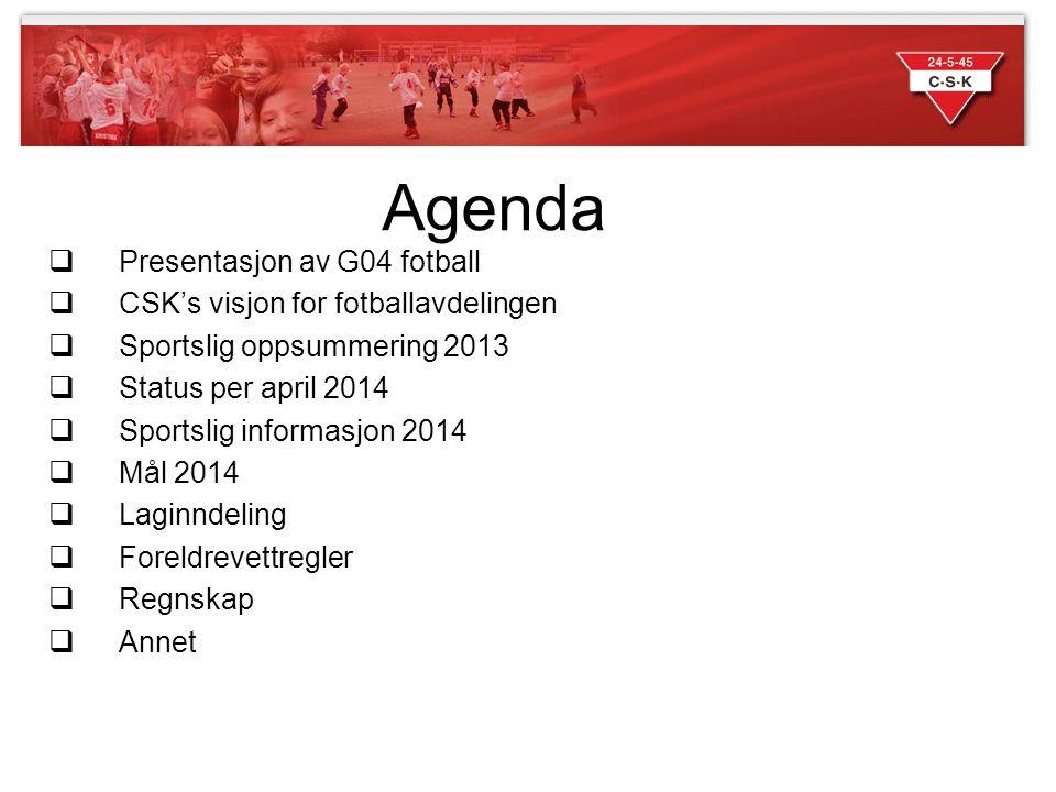 Agenda  Presentasjon av G04 fotball  CSK's visjon for fotballavdelingen  Sportslig oppsummering 2013  Status per april 2014  Sportslig informasjo