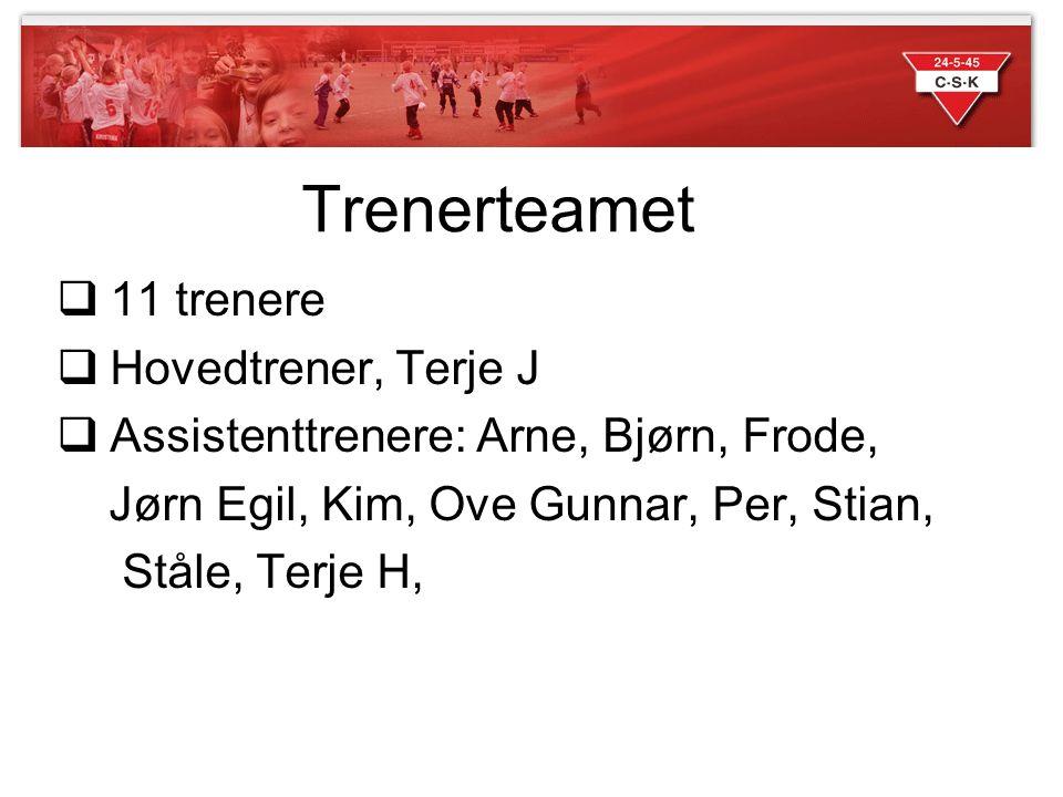 Trenerteamet  11 trenere  Hovedtrener, Terje J  Assistenttrenere: Arne, Bjørn, Frode, Jørn Egil, Kim, Ove Gunnar, Per, Stian, Ståle, Terje H,