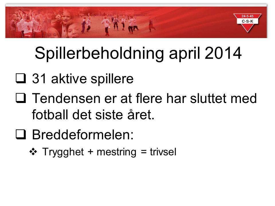 Spillerbeholdning april 2014  31 aktive spillere  Tendensen er at flere har sluttet med fotball det siste året.  Breddeformelen:  Trygghet + mestr