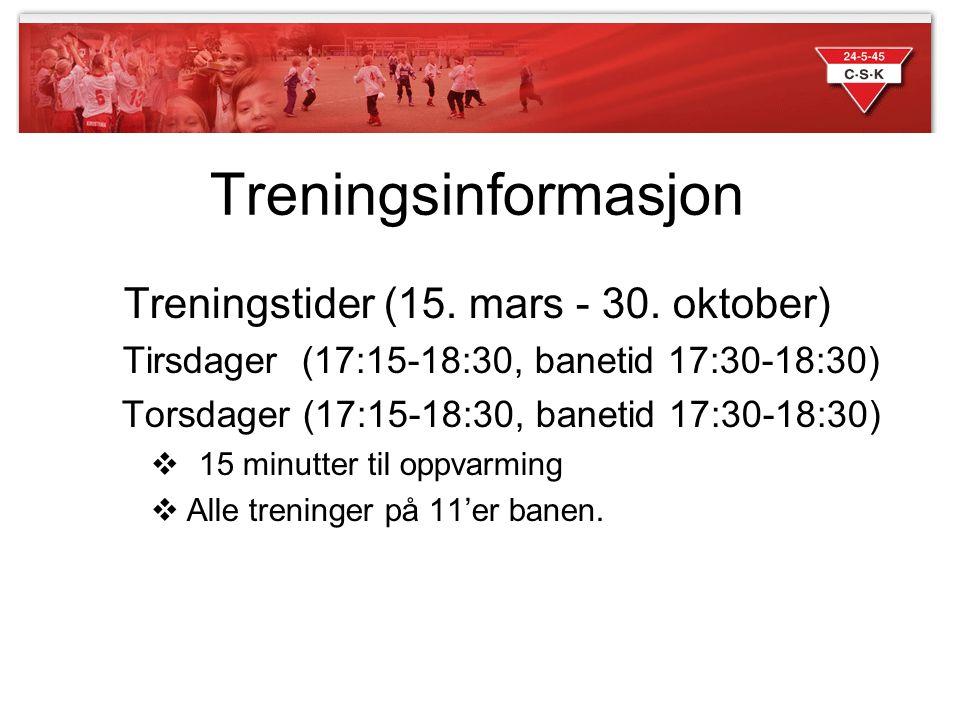 Treningsinformasjon Treningstider (15. mars - 30. oktober) Tirsdager (17:15-18:30, banetid 17:30-18:30) Torsdager (17:15-18:30, banetid 17:30-18:30) 