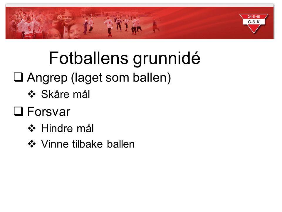 Fotballens grunnidé  Angrep (laget som ballen)  Skåre mål  Forsvar  Hindre mål  Vinne tilbake ballen