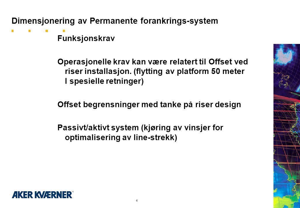 4 Dimensjonering av Permanente forankrings-system Funksjonskrav Operasjonelle krav kan være relatert til Offset ved riser installasjon.