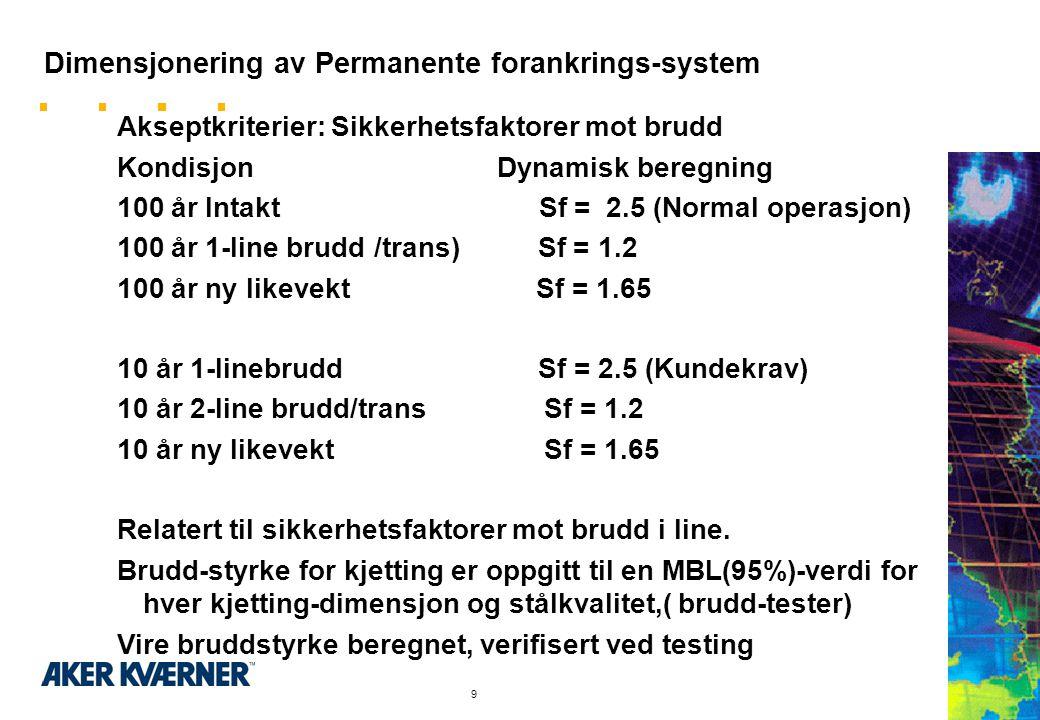 9 Dimensjonering av Permanente forankrings-system Akseptkriterier: Sikkerhetsfaktorer mot brudd Kondisjon Dynamisk beregning 100 år Intakt Sf = 2.5 (Normal operasjon) 100 år 1-line brudd /trans) Sf = 1.2 100 år ny likevekt Sf = 1.65 10 år 1-linebrudd Sf = 2.5 (Kundekrav) 10 år 2-line brudd/trans Sf = 1.2 10 år ny likevekt Sf = 1.65 Relatert til sikkerhetsfaktorer mot brudd i line.