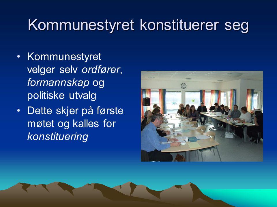 Kommunestyret konstituerer seg •Kommunestyret velger selv ordfører, formannskap og politiske utvalg •Dette skjer på første møtet og kalles for konstit