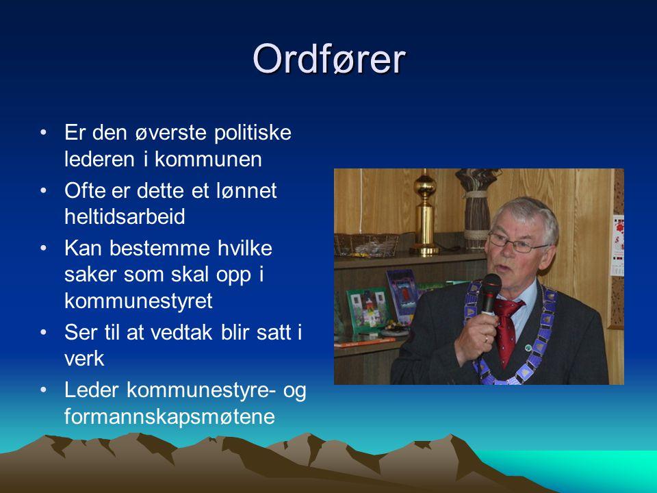 Ordfører •Er den øverste politiske lederen i kommunen •Ofte er dette et lønnet heltidsarbeid •Kan bestemme hvilke saker som skal opp i kommunestyret •