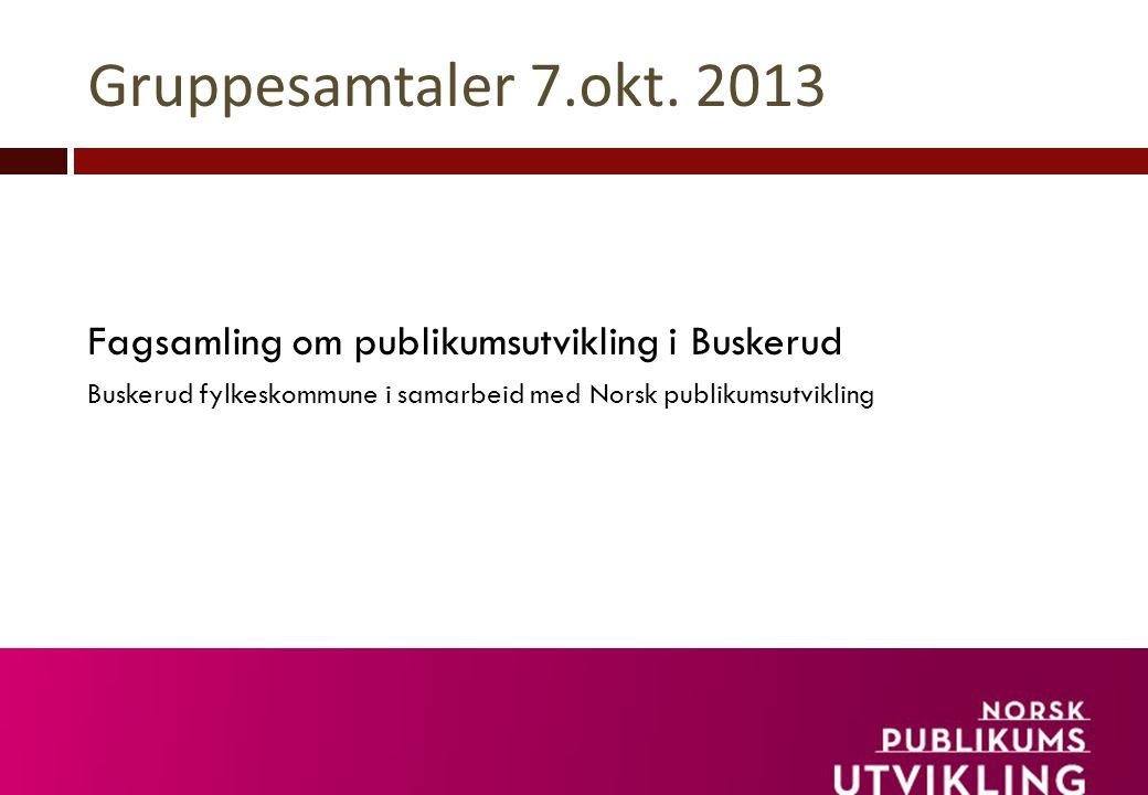 Gruppesamtaler 7.okt. 2013 Fagsamling om publikumsutvikling i Buskerud Buskerud fylkeskommune i samarbeid med Norsk publikumsutvikling